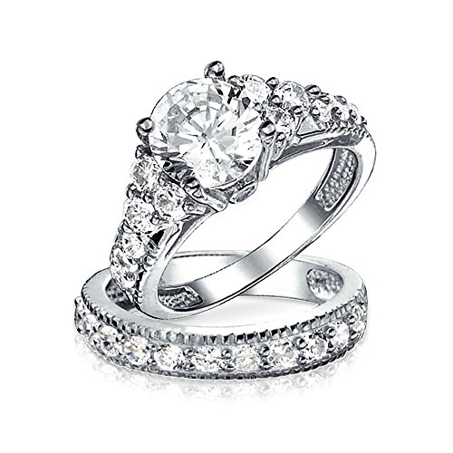 Bling Jewelry .925 Sterling Silver 4-Prong Round CZ Engagement Wedding Ring Set size 8