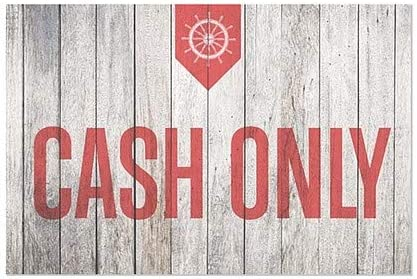 CGSignLab Cash Only Nautical Wood Window Cling 36x24