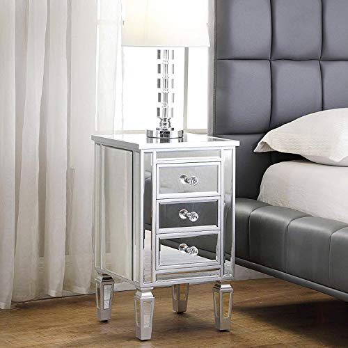 3-Drawer Mirrored End Table – GA Home Mirrored Furniture Nightstand Glass Bedside Table, Silver