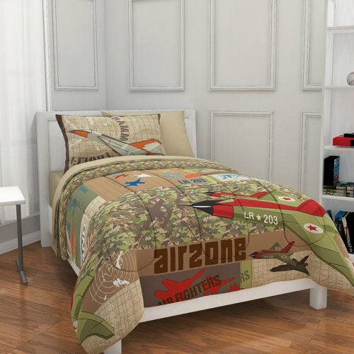 Airplane, Fighter Jet, Military, Camouflage, Boys Full Comforter Set (7 Piece Bed In A Bag)