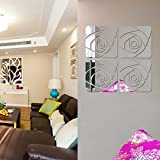 Alrens_DIY(TM)50x50cm Large Rose Acrylic Mirror Wall Sticker DIY 3D Effective Reflective Mirror Wall Decor Home Decoration Living Room Bedroom Kids Nursery Room Self Adhesive Creative Mural Decal Art - 3 Colors (Silver)