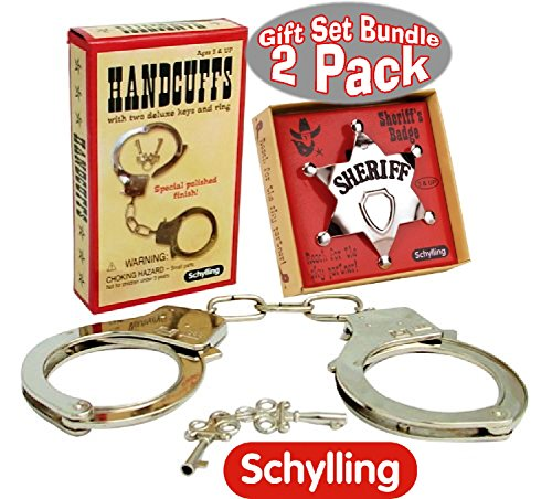 (Schylling Classic Metal Handcuffs & Law Man Sheriff's Badge Gift Set Bundle - 2)