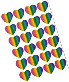 """Custom & Decorative {1"""" X .5"""" Inch} 24 Piece Pack of Mid-Size Stickers for Arts, Crafts & Scrapbooking w/ Shimmery, Shiny, Rainbow Hearts Stripe Style {Green, Purple Yellow, & Orange}"""
