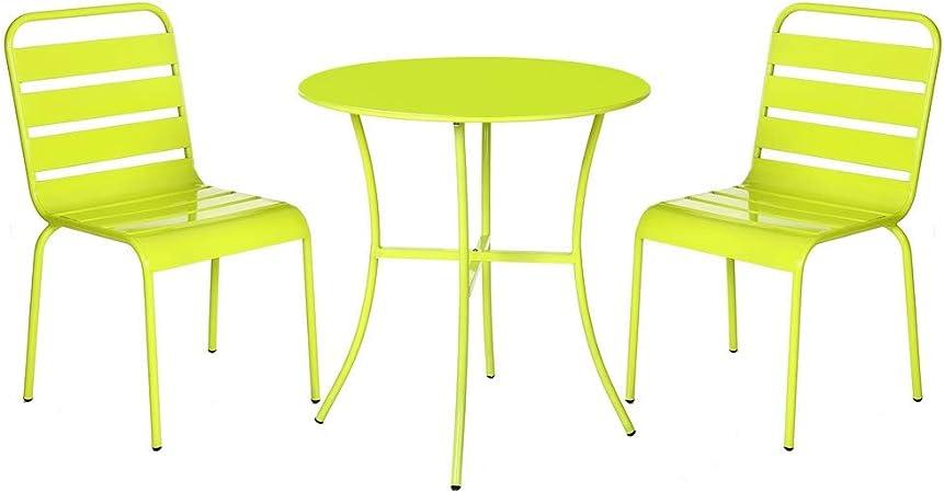 Conjunto de Mesa y sillas de jardín Verde de Acero - LOLAhome: Amazon.es: Hogar