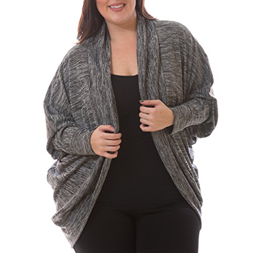 [71303XR-BLK-4X] Women's Plus Size Cocoon Cardigan Long Sleeve Brushed Knit Wrap