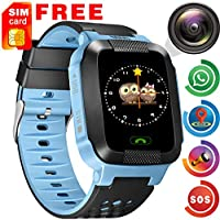 [SIM Card Included] Kids Phone Smart Watch for 3-12 Year Old HD Touch Screen GPS Tracker SOS Camera Game Flashlight Alarm Smart Wrist Watch Electronic Learning Toys for Girls Boys for Android/iOS