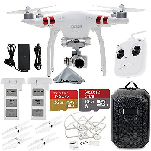 DJI Phantom 3 Standard Quadcopter Aircraft with with 2.7K Camera and 3-Axis Gimbal, Manufacturer Accessories, DJI Propeller Set, Water-Resistant Hardshell Backpack, More