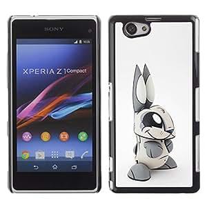 For Sony Xperia Z1 Compact / Z1 Mini / D5503 Case , Toy Rabbit Grey White Long Ears - Diseño Patrón Teléfono Caso Cubierta Case Bumper Duro Protección Case Cover Funda
