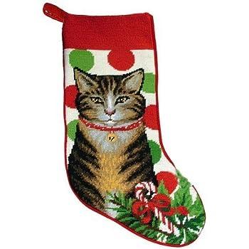 Amazon Com Festive Grey Tabby Cat Needlepoint Christmas