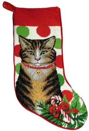 Festive Grey Tabby Cat Needlepoint Christmas Stocking