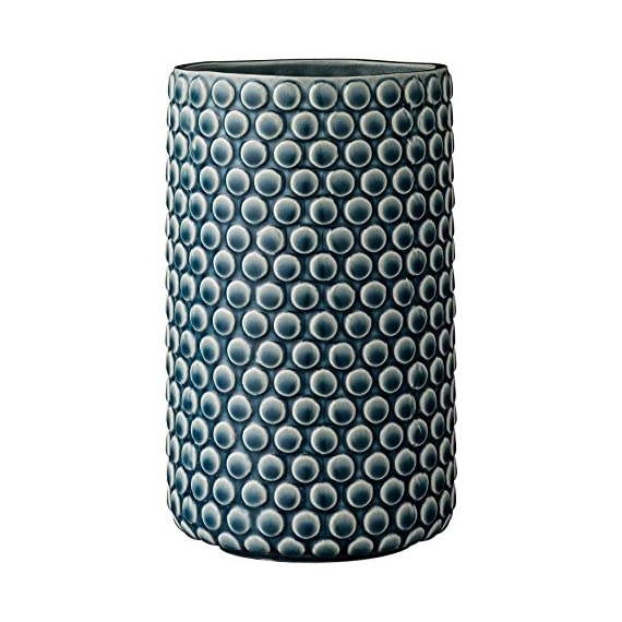 Bloomingville Teal Ceramic Vase with Polka Dot Design - Made with ceramic Sealed to holder water Wipe clean with a damp cloth - vases, kitchen-dining-room-decor, kitchen-dining-room - 51bMd%2B4oRAL. SS570  -
