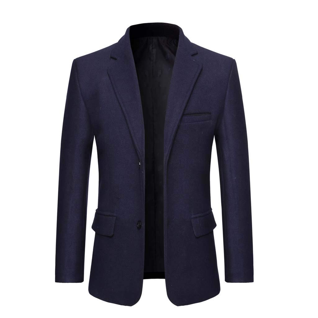 Alalaso Men's Turn-Down Collar Long Sleeve Casual Suit Slim Fit Coat Jacket Navy by Alalaso