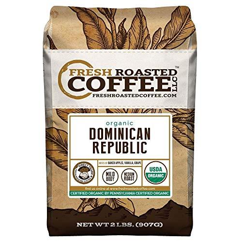 Fresh Roasted Coffee LLC, Organic Dominican Republic Coffee, USDA Organic, Fair Trade, Medium Roast, Whole Bean, 2 Pound Bag