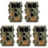 BlazeVideo 5-Pack Game Trail Deer Hunting Cameras 16MP 1920x1080P Video No Glow Infrared Camo Wildlife Animal Cams PIR Motion Activated IP66 Waterproof & Password Protected No Flash 65ft Night Vision