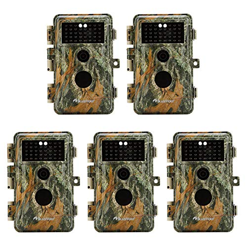 5-Pack Game & Trail Cameras 16MP 1080P Video Night Vision Time Lapse Wildlife Deer Hunting Cams No Glow Infrared Motion Activated IP66 Waterproof Protection Photo & Video -