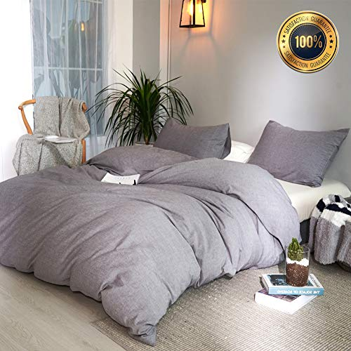 Taiyihome 3-Piece Duvet Cover Set,100% Washed Cotton(Gray,King)
