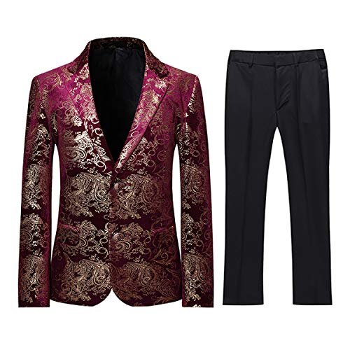 (Boyland Boys Jacquard Suit Slim Fit Tuxedo Suits Jacquard Notch Lapel Tux Jacket Pants Party Formal Wear Purplish Red )