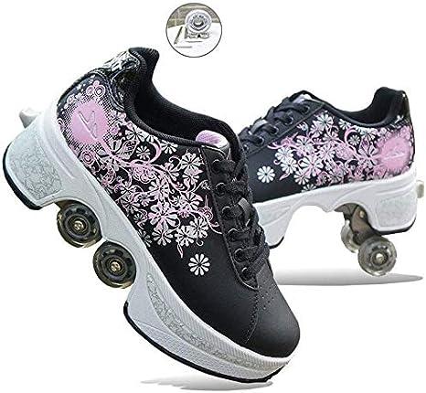 JZLPY Patín en línea, 4 Ajustables Botas Ruedas Quad Roller, Niños Ruedas niños Zapatillas de Deporte Zapatos del Rodillo, Zapatos Unisex para Principiantes Regalo,42: Amazon.es: Deportes y aire libre