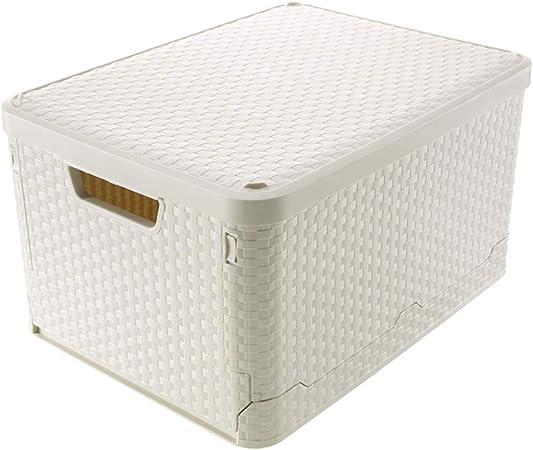 WAHHW Caja Plegable Alta, Caja de Almacenamiento Multiusos Portátil para Coche, Caja de Clasificación de Plástico Tipo Ratán para Oficina en el Hogar con Tapa: Amazon.es: Hogar