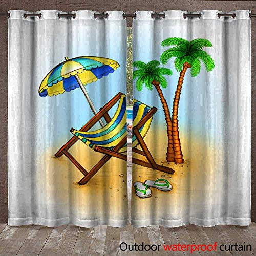 BlountDecor Patio Gazebo Pergola Cabana Drawing of Chaise Lounge Waterproof CurtainW120 x L84 (Beach Cabana Lounge)