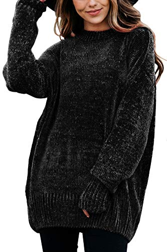 JunBag Women's Oversized Knitted Crewneck Pullover Long Sleeve Loose Sweater