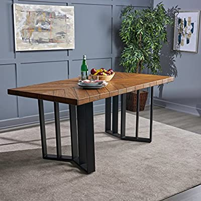 Christopher Knight Home 304127 Andrew Indoor Farmhouse Textured Brown Finish Light Weight Concrete Dining Table, Black - This dining table is the perfect addition to any rustic set, the light weight concrete material is weather resistant, and virtually indestructible, great for any home, especially those with young kids prone to spills, Perfect to pair with Benches, chairs, or any combination of both, included with this table is a weather resistant cover that is designed to protect your table while not in use, with its simple design, this table is sure to give any kitchen The Absolute picturesque feel Includes: one (1) table. Material: Light weight concrete. Leg Material: iron Finish: textured brown. Leg Finish: Black. Assembly required - kitchen-dining-room-furniture, kitchen-dining-room, kitchen-dining-room-tables - 51bMdrGzFwL. SS400  -