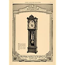 1919 Ad Colonial Manufacturing Grandfather Clocks Wood - Original Print Ad