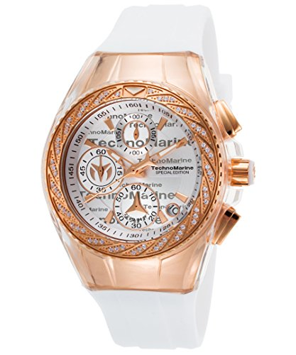 Technomarine Tm-115385 Women's Cruise Glitz Chrono White Sil. Silver-Tone Dial Rose-Tone Ss Watch