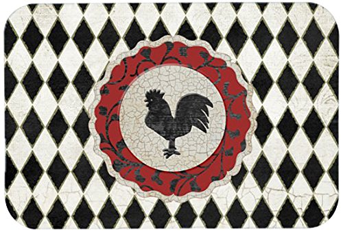 "Caroline's Treasures SB3086JCMT""Rooster Harlequin Black & White"" Kitchen or Bath Mat, 24"" by 36"", Multicolor from Caroline's Treasures"