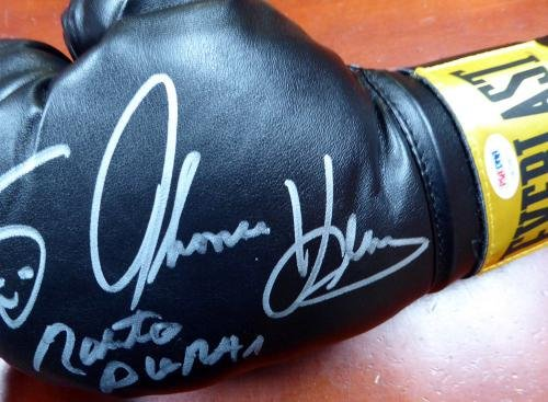 3 Boxing Greats Autographed Boxing Glove Leonard Hearns Duran Lh 112584 PSA/DNA Certified Autographed Boxing Gloves