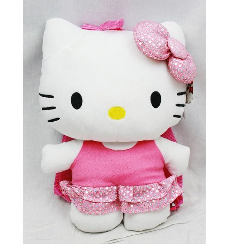 Plush Backpack - Hello Kitty - Bling Pink Dress 15 New Soft Doll Toys 68387 FAB Starpoint