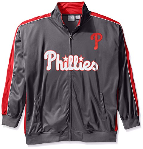 - MLB Philadelphia Phillies Men's Team Reflective Tricot Track Jacket, 3X/Tall, Charcoal/Red