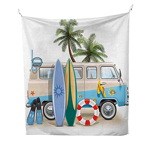 SurftapestrySurfing Weekend Concept with Diving Elements Fins Snorkeling and Van Trip Relax Peace 40W x 60L inch Wall tapestryMulticolor]()