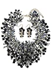 THE JEWEL RACK BEADED FAUX GEM CONFETTI BIB NECKLACE SET (Black)