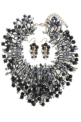 THE JEWEL RACK BEADED FAUX GEM CONFETTI BIB NECKLACE SET (Black) by The Jewel Rack