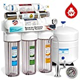 Home Water Filtration Reverse Osmosis Express Water ROUV10DCG UV Ultra-Violet Sterilizer Reverse Osmosis Home Drinking Water Filtration System, 100 GPD, Deluxe Chrome Faucet, Pressure Gauge, Clear Housing