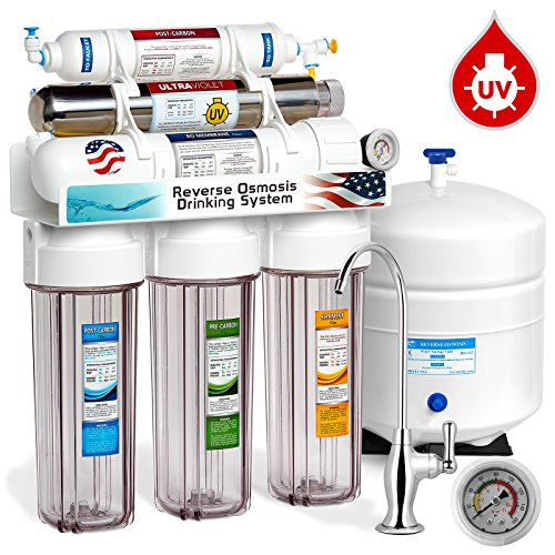 DCG UV Ultra-Violet Sterilizer Reverse Osmosis Home Drinking Water Filtration System, 100 GPD, Deluxe Chrome Faucet, Pressure Gauge, Clear Housing (Uv Filtration System)