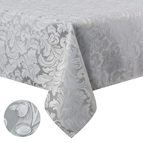 - Tektrum 70 X 70 inch Square Damask Jacquard Tablecloth Table Cover - Waterproof/Spill Proof/Stain Resistant/Wrinkle Free/Heavy Duty - Great for Banquet, Parties, Dinner, Kitchen, Wedding (Silver Gray)