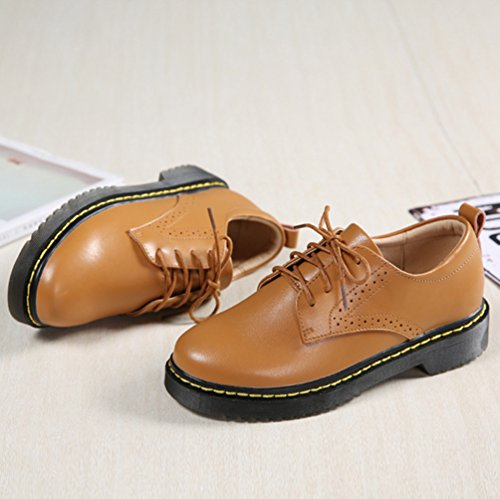 Flats Bateau Loisirs Chaussures Jaune Classique Lacets Sculpté Femme Brogues Chaussures Cuir Yiiquan PU zR0Bwq