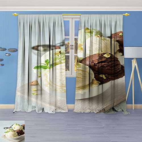 AmaPark Linen Curtains ive Cream Scoops in White Bowl Print Window Curtain Drapes Set for Living Room 108