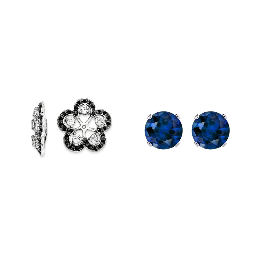 Sterling Silver White Simulated Topaz, Black Simulated Sapphire Earring Jacket + 2mm Blue CZ Studs