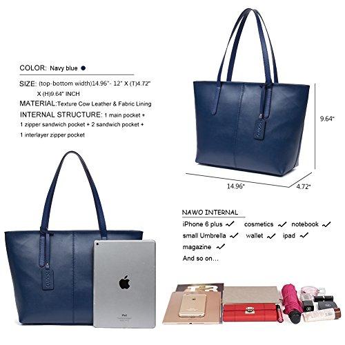 NAWO Women s Leather Designer Handbags Shoulder Tote Top-handle Bag Clutch  Purse Blue. Smalle (W)38 x (T)12 x (H)24.5 cm-Pink 8d814dd60d0df