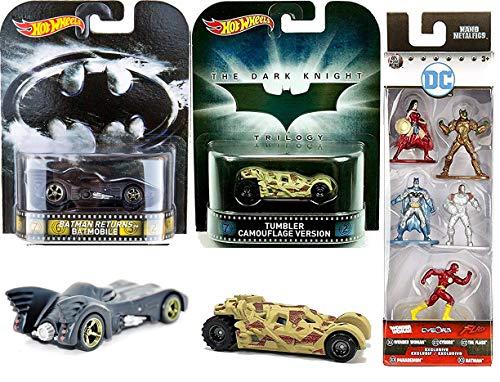 Rider Mini Figure - Premium Batman Die-Cast Batmobile DC Comics Hot Wheels Real Rider Car Pack Tim Burton Returns + Camo Tumbler Dark Knight Justice League Nano Mini Figures 5-Pack