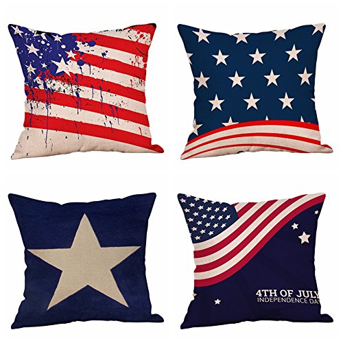 Set of 4 Patriotic American Flag July 4th Inspired Throw Pillow Covers,Stars and Stripes Vintage USA Flag Cotton Linen Pillow Cases Cushion Covers Square 18X18 Inch (Style 4) (Pillow Star American)
