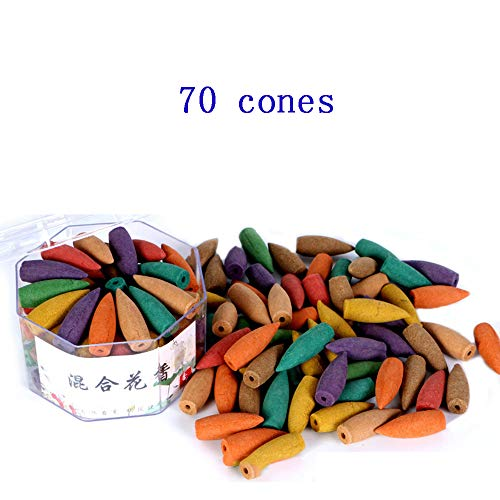 Corcio 70pcs/box Lengthened Cone Tower Incense Backflow Incense Waterfall Cones for Incense Burner Holder about 15 Mins-Mixed incense