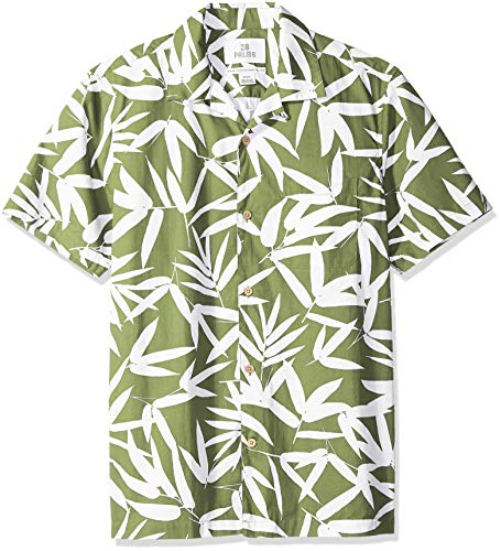 28 Palms Men's Standard-Fit 100% Cotton Tropical Hawaiian Shirt, Olive/White Bamboo Leaves, X-Large