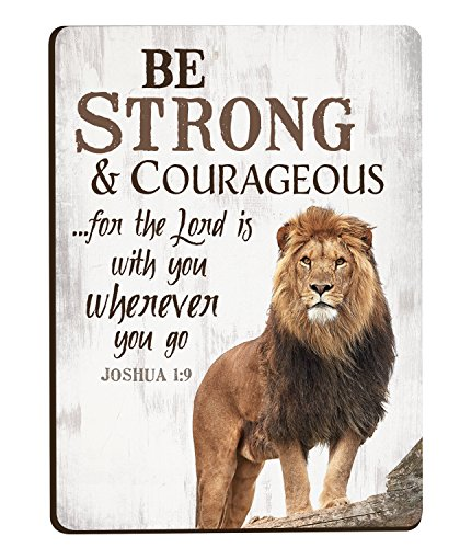 - Be Strong & Courageous Lion 3 x 4 Inch Wood Lithograph Magnet