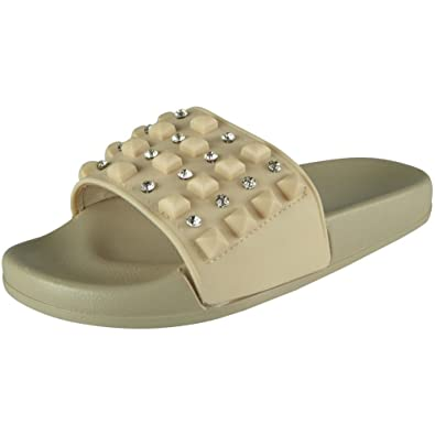 Womens Ladies Comfy Plain Rubber Stud Sliders Flats Shoes Slippers Size 3-8