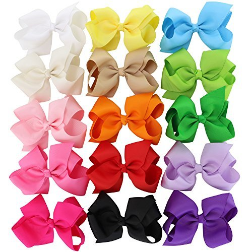 4.5in Hair Bows Grosgrain Ribbon Baby Girls Large Butique Bow Clip For Girls Teens Toddlers Kids Children Set Of 15 (Infant Bright White Apparel)