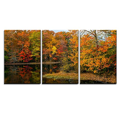 """Wall26 - 3 Piece Canvas Wall Art - Colorful Autumn Reflections on This Pond in Allaire State Park in New Jersey. - Modern Home Decor Stretched and Framed Ready to Hang - 24\""""x36\""""x3 Panels"""